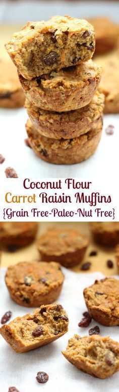 Coconut flour Carrot Raisin Muffins that are grain free, gluten free, paleo and nut free