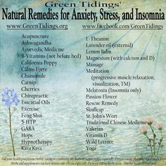 Natural Remedies for Anxiety, Stress, and Insomnia