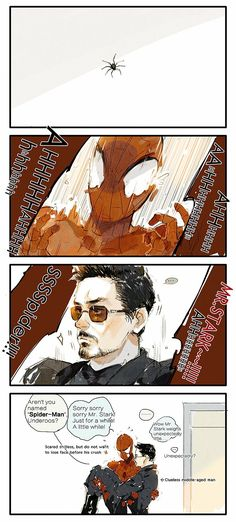 """01Just kid. #Ironman #SpiderMan"""
