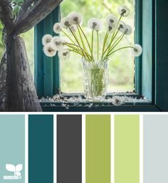 color wishes, Living room, kitchen, dining room. Light turq for wall, grey for carpet/tile, darg brown for couch, dark turq for curtains and more couch, greens for accents and pillows | best stuff