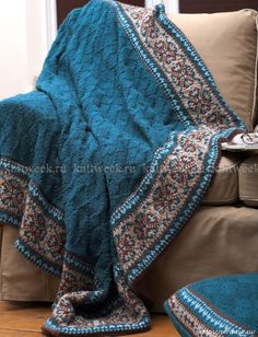 Покрывало и подушка спицами с жаккардом