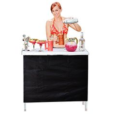 Portable High Top Party Bar Table with Shelf -Includes 3 Front Skirts,by GoPong for sale online Bar Furniture For Sale, Home Bar Furniture, Furniture Ideas, Furniture Logo, White Furniture, Portable Bar Table, Outside Bars, Pop Up Bar, Gold Bar Cart