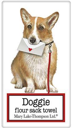 Welsh Corgi Dog 100% Cotton Flour Sack Dish Towel Tea Towel