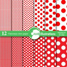 Christmas Red Dots Digital Papers and Backgrounds