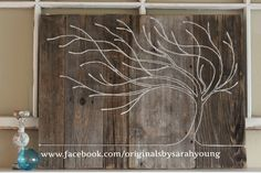Hand-made reclaimed wood art using nails and twine by www.facebook.com/originalsbysarahyoung