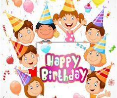 Happy birthday background with cute chrildren vector 02