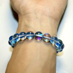 Aqua Aura Natural Blue Crystal Round Bracelets - Run Away Bride
