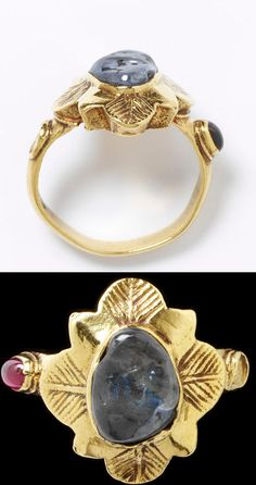 Gold ring with flower-shaped bezel set with a sapphire. The shoulders have settings for stones, one holding a garnet, the other empty, Western Europe, 1300-1400.
