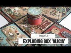 EXPLODING BOX ALICIA (CON MAS SCRAP) - TUTORIAL | LLUNA NOVA SCRAP Mini Scrapbook Albums, Disney Scrapbook, Mini Albums, Nova, Book Journal, Journals, Exploding Boxes, Explosion Box, Graphic 45