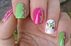 Life World Women Nail Art Brush Designs Floral Nails In Pink Floral Nails
