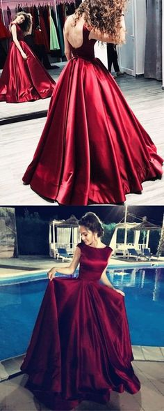 simple elegant burgundy satin long prom dress, PD5479