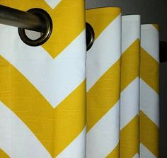 Pair of Grommet Top Curtains in Corn Yellow and by SewPanache