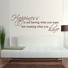 vinilos decorativos con frase en inglés, sobre la felicidad... Happiness...