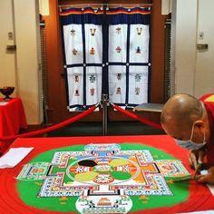 The mandala is making so much progress! Each tiny grain of sand contributes to… Grain Of Sand, Buddhist Monk, 80th Birthday, Dalai Lama, Mandala, Invitations, Holiday Decor, Image, 80 Birthday