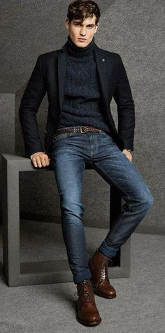 Classic Black Blazer and Turtleneck with Fitted Jeans Mens Fall Winter Fa Mode Masculine, Masculine Style, Fashion Mode, Suit Fashion, Sporty Fashion, Fashion Blogs, Sporty Chic, Fashion Styles, Fashion Menswear