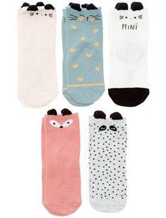 Lot de 5 paires de chaussettes  animaux  imprimé mini animaux Bébé fille -  Kiabi db986b61a38