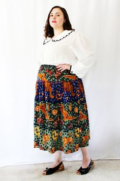 CLEARANCE - Plus Size - Vintage Olive Yoke Swing Full Midi Skirt ...