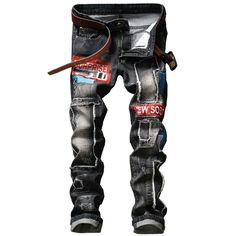 New Rap Distressed Patchwork Men Jeans Scratched Biker Jeans Hole Ripped Denim Straight Slim Fit Hip Hop Cotton Pants #Affiliate