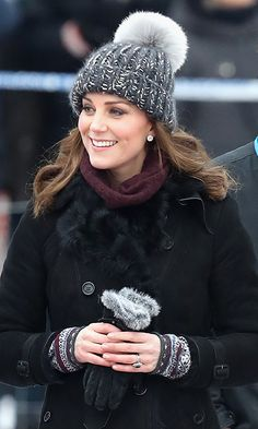 She Also Wore Asprey London Earrings and an Adorable Bobble Hat From Eugenia Kim Kate Middleton Star Kate Middleton Hats, Princesse Kate Middleton, Kate Middleton Prince William, Kate Middleton Style, Prince William And Kate, William Kate, Duchess Kate, Duke And Duchess, Duchess Of Cambridge