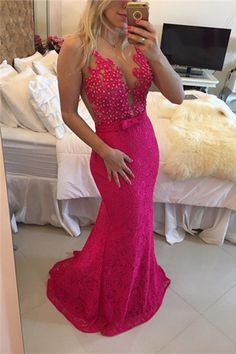 Sexy Lace Mermaid Prom Dresses http://banquetgown.storenvy.com/products/15978342-sexy-lace-mermaid-prom-dresses-2016-illusion-sheer-tulle-sleeveless-hot-pink