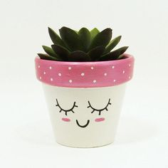 Succulent Planter, Terracotta Pot, Cute Face Planter, Air Plant Holder, Plant Pot, Flower Pot, Indoor Planter, Kawaii from TimberlineStudio on Etsy. #beautiful #pretty #adorable #pink #planters #cute #homedecor #succulents.