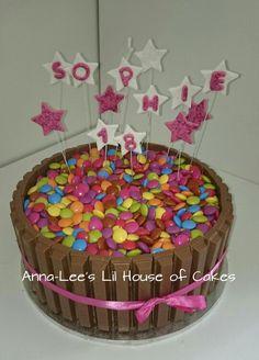 18 th chocolate birthday cake, kit kat and mm's