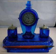 ART DECO ANTIQUE COBALT BLUE LIBERTY CLOCK DUAL INKWELL RARE