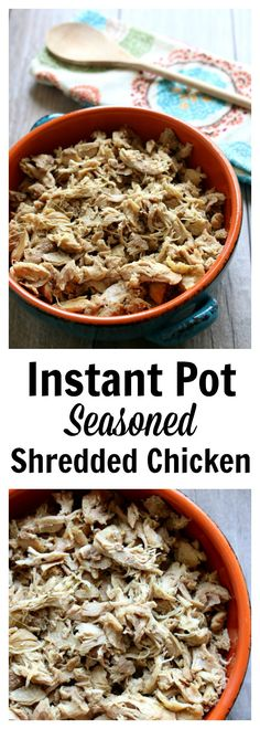 "Instant Pot Seasoned Shredded Chicken–if you love rotisserie-style chicken you need to make this chicken! The chicken is made in minutes in your Instant Pot and it's super tender and moist. My husband said to me, ""I think this is the best chicken you've ever made."""