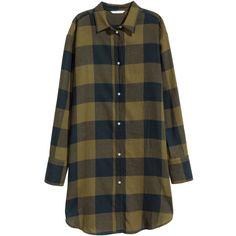 H&M Flannel Shirt Dress $12.99 (230 ARS) ❤ liked on Polyvore featuring dresses, short shirt dress, checkered dress, h&m dresses, long sleeve flannel dress and checked shirt dress