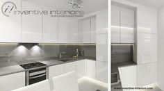 Projekt kuchni Inventive Interiors - biało-szara kuchnia z zabudową w formie litery L - wyburzona ściana w wąskiej kuchni