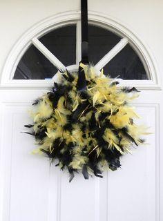 Feather Wreath MIZZOU Missouri Black and Gold by RedRobynLane, $18.99