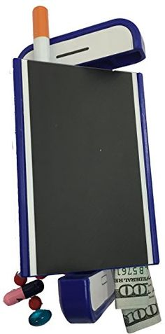 Chameleon 420 (Blue Case /White Screen) Diversion Safe Stash Spot Great for hiding hookah herb, Raw blunt or zig zag rolling papers, and glass pipes.
