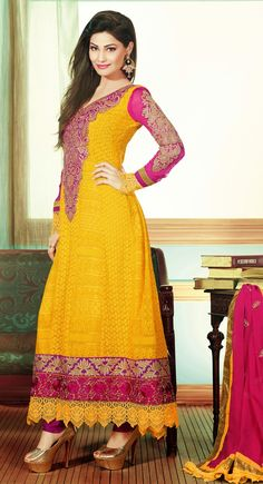 Captivating Gold Color & Pink Salwar Kameez