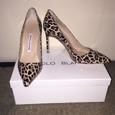 "Authentic Manolo Blahnik ""Leopardino"" Brand new, never worn. Just selling stuff I don't wear. Comes in original box with dust bag. Bought from the Wynn Las Vegas for $695. No trades, no holds, price is firm but is listed on Ⓜ️erc@ri for a lower price. Manolo Blahnik Shoes Heels"