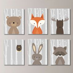 trendy ideas for baby boy nursery woodland forest friends kids Baby Boy Rooms, Baby Boy Nurseries, Baby Boys, Forest Nursery, Woodland Nursery Decor, Forest Bedroom, Nursery Prints, Nursery Wall Art, Nursery Room