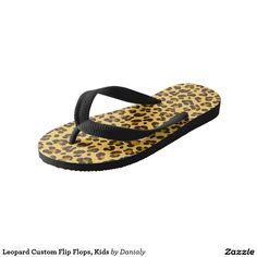 Leopard Custom Flip Flops, Kids