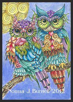 Owls - Fairy Tangles by Barb Gilliland Zen Doodle, Doodle Art, Owl Artwork, Doodle Coloring, Colouring, Tangle Art, Owl Crafts, Owl Bird, Cute Owl