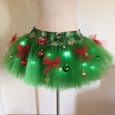 I'd wear this with white turtleneck and white tights to an ugly Christmas sweater party! This adult large sized TuTu features green tulle sewn onto a pine tree print fabric waistband. Christmas Tree TuTu is decorated with ornaments, Tacky Christmas Party, Christmas Tutu, Tacky Christmas Sweater, Large Christmas Tree, Ugly Sweater Party, Christmas Costumes, Christmas Tree Decorations, Christmas Holidays, Christmas Crafts