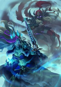 World of Warcraft/Hearthstone Fan Art I made for the Challenge of the month of August! The challenge was to paint a fan art illustration based on. Frost Lich Jaina vs Valeera The Hollow World Of Warcraft, Warcraft Art, Character Art, Character Design, Jaina Proudmoore, Overwatch, Lich King, Death Knight, Heroes Of The Storm