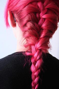 pink hair  magenta hair  braid