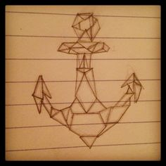 Geometric anchor design, would love it in bright teal. #tattoo #anchor #geometric #sailor