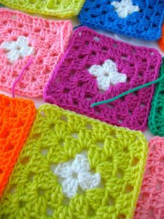 granny squares - cute colors!