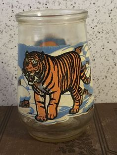 Vintage Welchs Endangered Species Jelly Glass Siberian Tiger 5 WWF Swanky Swig #Welchs