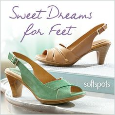 Who says comfortable can't be cute? Try these heels from Softspots that have PillowTop™ cushioning memory foam.