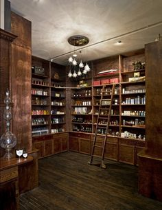 Ritual Gift Set An Apothecary like this, with ladders and tons of storage, beautiful!An Apothecary like this, with ladders and tons of storage, beautiful! Apothecary Cabinet, Apothecary Decor, Butler Pantry, Walk In Pantry, Wine Cellar, Retail Design, Pharmacy Design, Store Design, My House