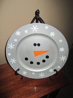 Idea: do the dollar store cheap plate sharpie thing w/a snowman face as part of the decor for Tabs birthday!