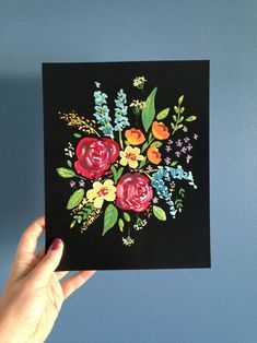 Easy Flower Painting, Acrylic Painting Flowers, Acrylic Painting Canvas, Diy Painting, Flower Art, Painting & Drawing, Gouache Painting, Easy Acrylic Paintings, Easy Flowers To Paint