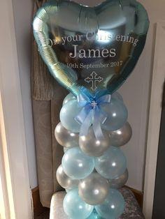 Baby Boy's Christening balloon centrepiece