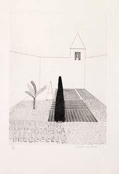 "cinoh: "" David Hockney (British, born Rapunzel Growing in the Garden, from Six Fairy Tales from the Brothers Grimm, etching. Rapunzel, David Hockney Prints, Pop Art, January Art, Nature Illustration, Fairytale Art, Painting & Drawing, Printmaking, Brothers Grimm"