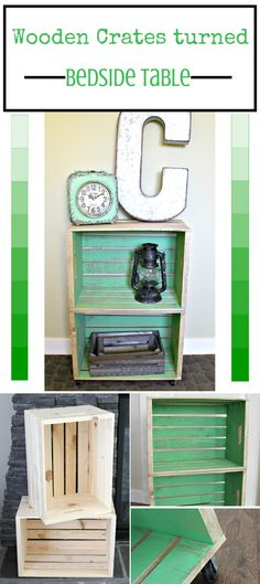 Wooden Crate Bedside Table